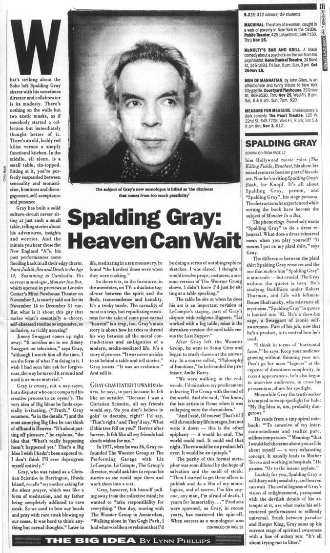Of spalding gray pleasure terrors